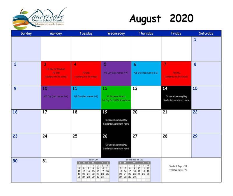 LCSD August 2020 Calendar