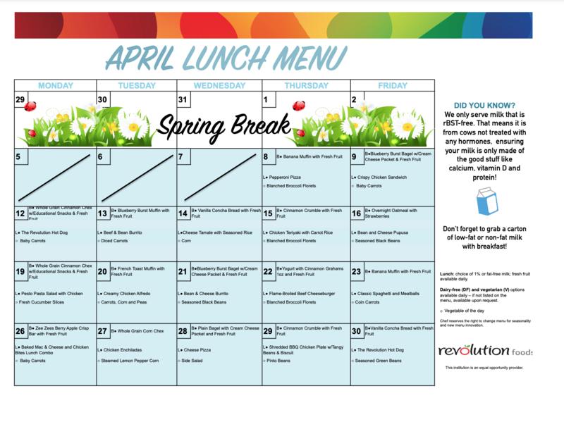 April Food Menu Featured Photo
