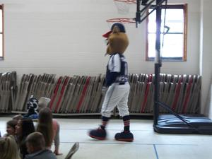Tomat visits during EOG pep rally.