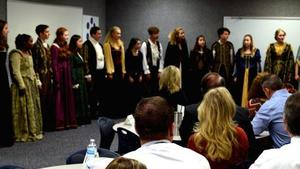 Madrigal Choir performing at principals meeting