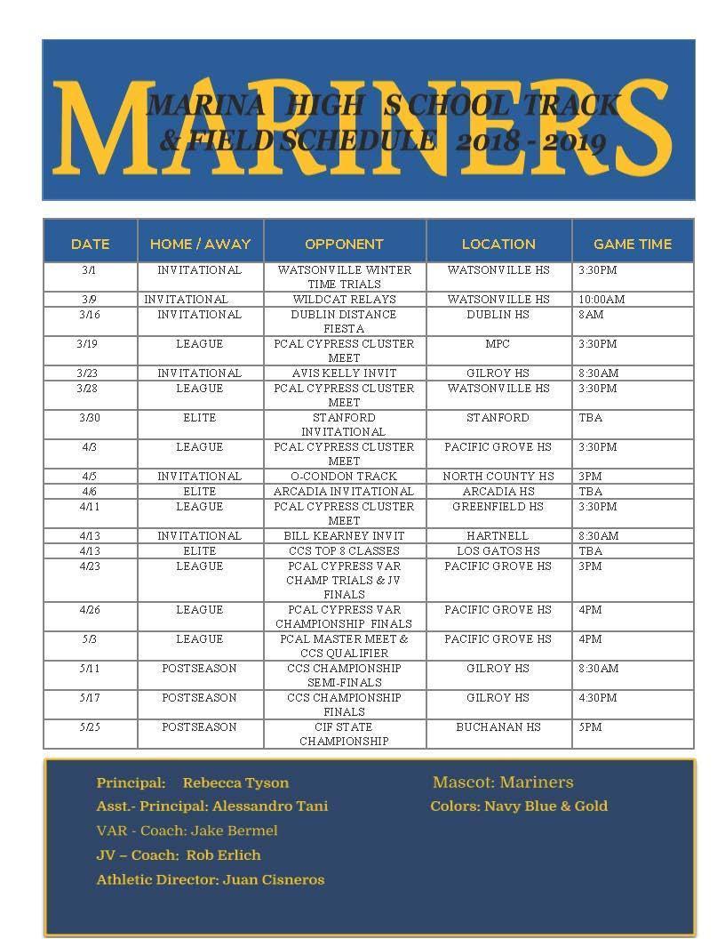 Track & Field Schedule