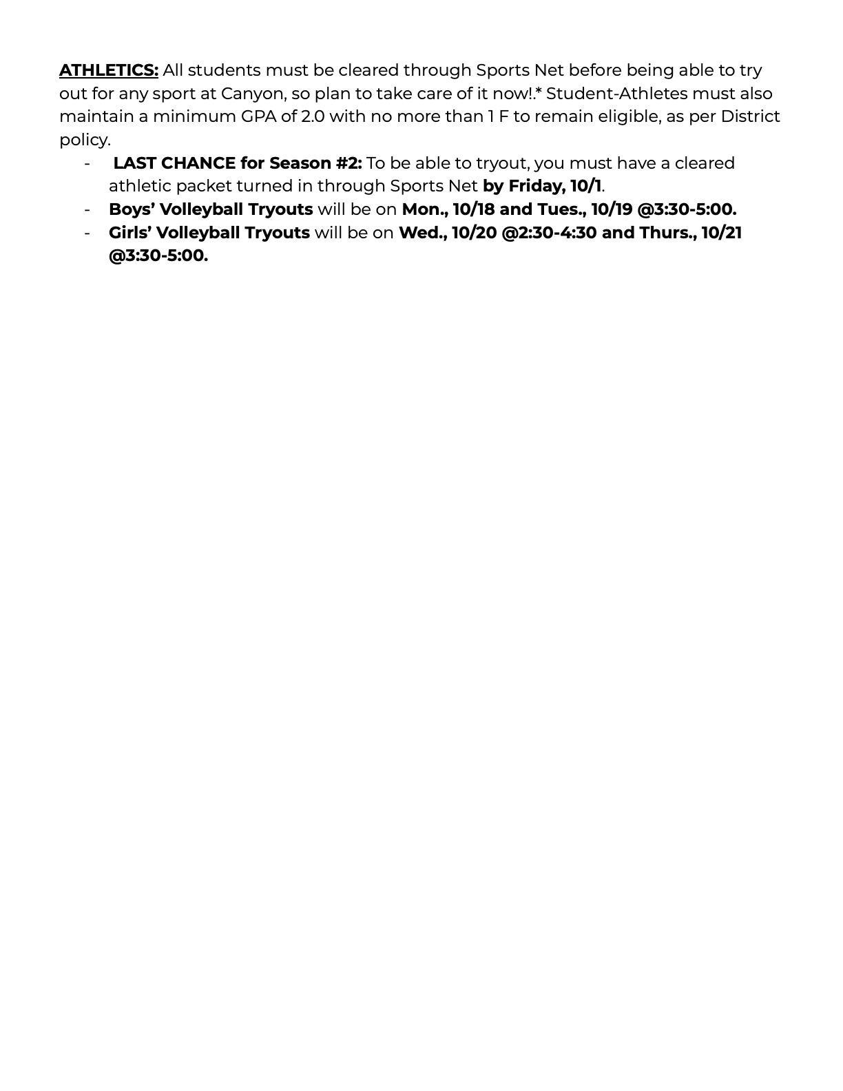 student bulletin page 2