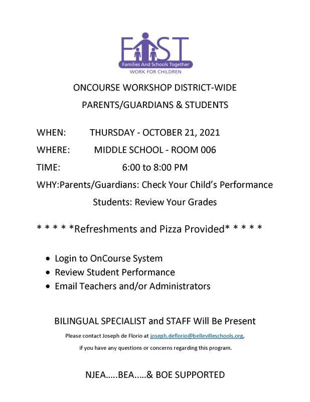 District Wide OnCourse Parent/Guardian/Student Workshop/Taller de OnCourse para padres / tutores / estudiantes en todo el distrito!  10-21-21 from 6:00-8:00 PM! Featured Photo