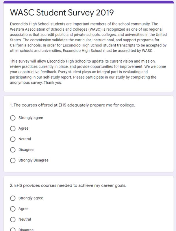 WASC Student Survey