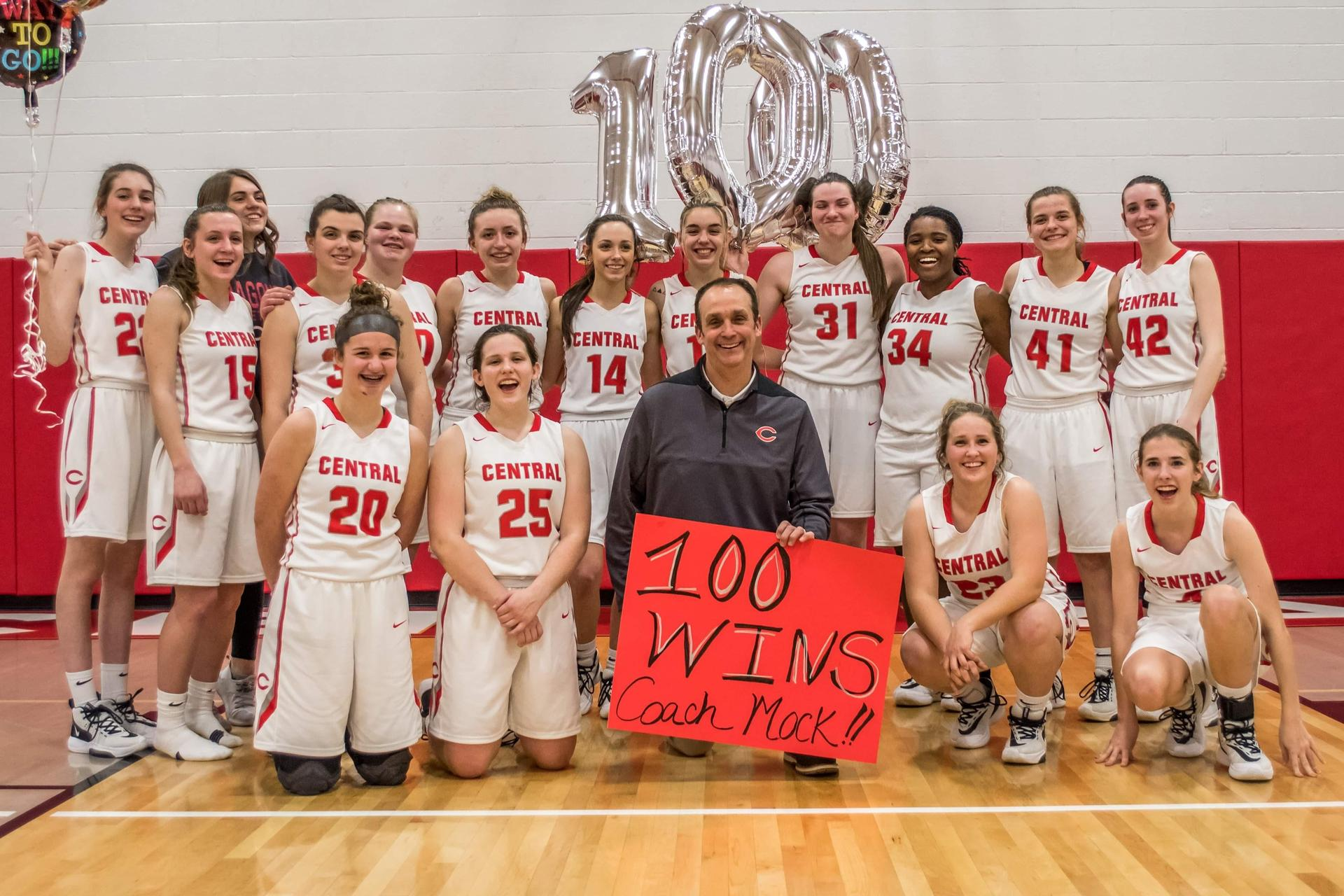 CHS Lady Dragons defeated Clearfield 2/10/20, in doing so, Coach Rob Mock notched his 100th career win