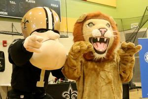 Sir Saint and the KTBW Lion mascot