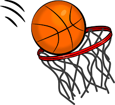 Clip art of basketball going into hoop