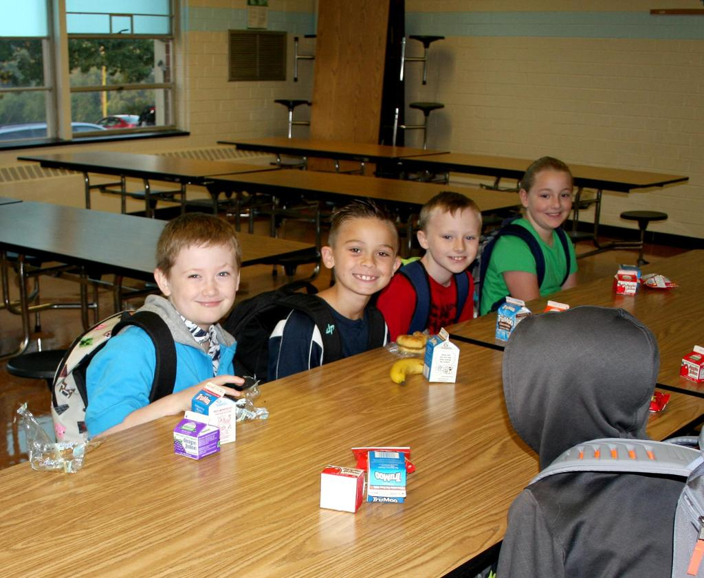 Students at breakfast in the school cafeteria on the first day of classes at Mt. Pleasant Elementary.