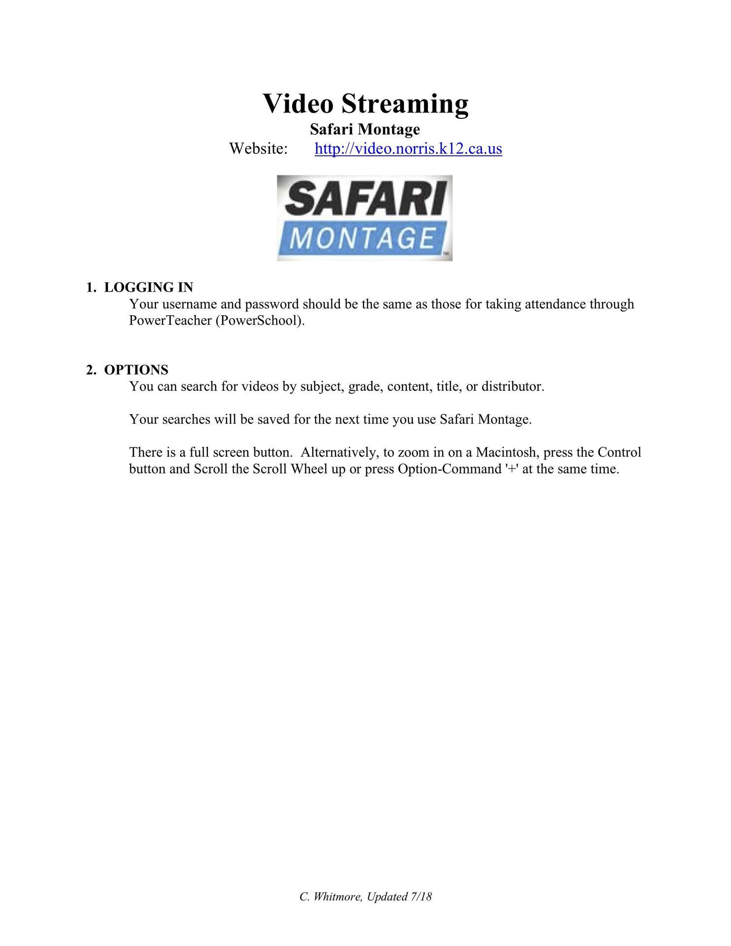 safari montage help