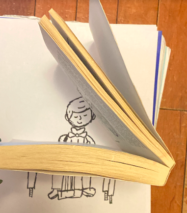 drawing of book turned into a piano