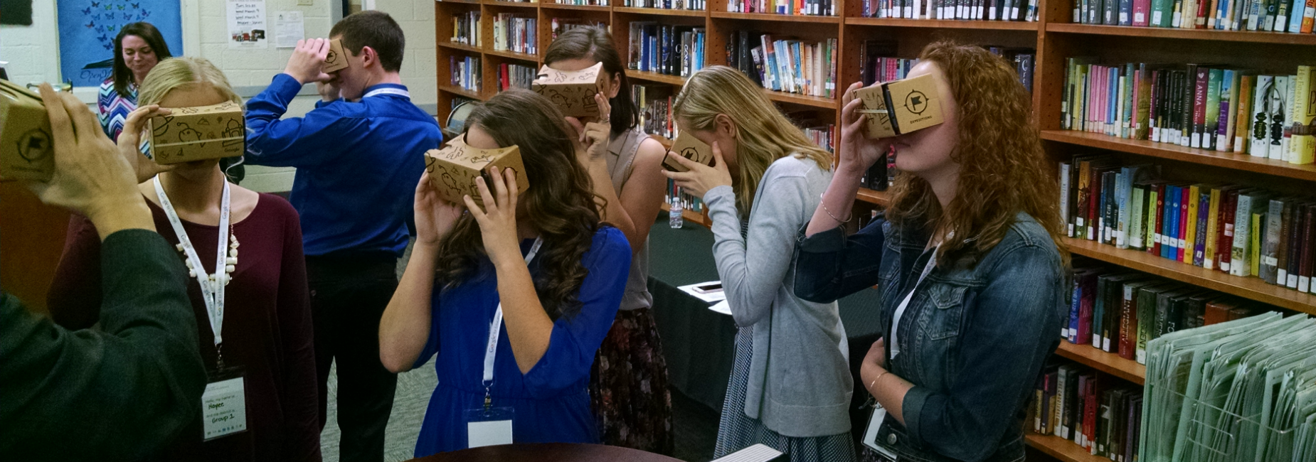 Northwood High School students using Google Cardboard to try out virtual reality field trip.