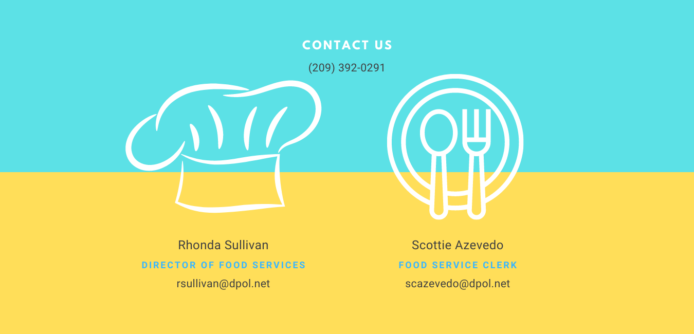 Half blue/yellow sections with chef hat and plate icons. Food Services, Contact Us Information, Rhonda Sullivan rsullivan@dpol.net