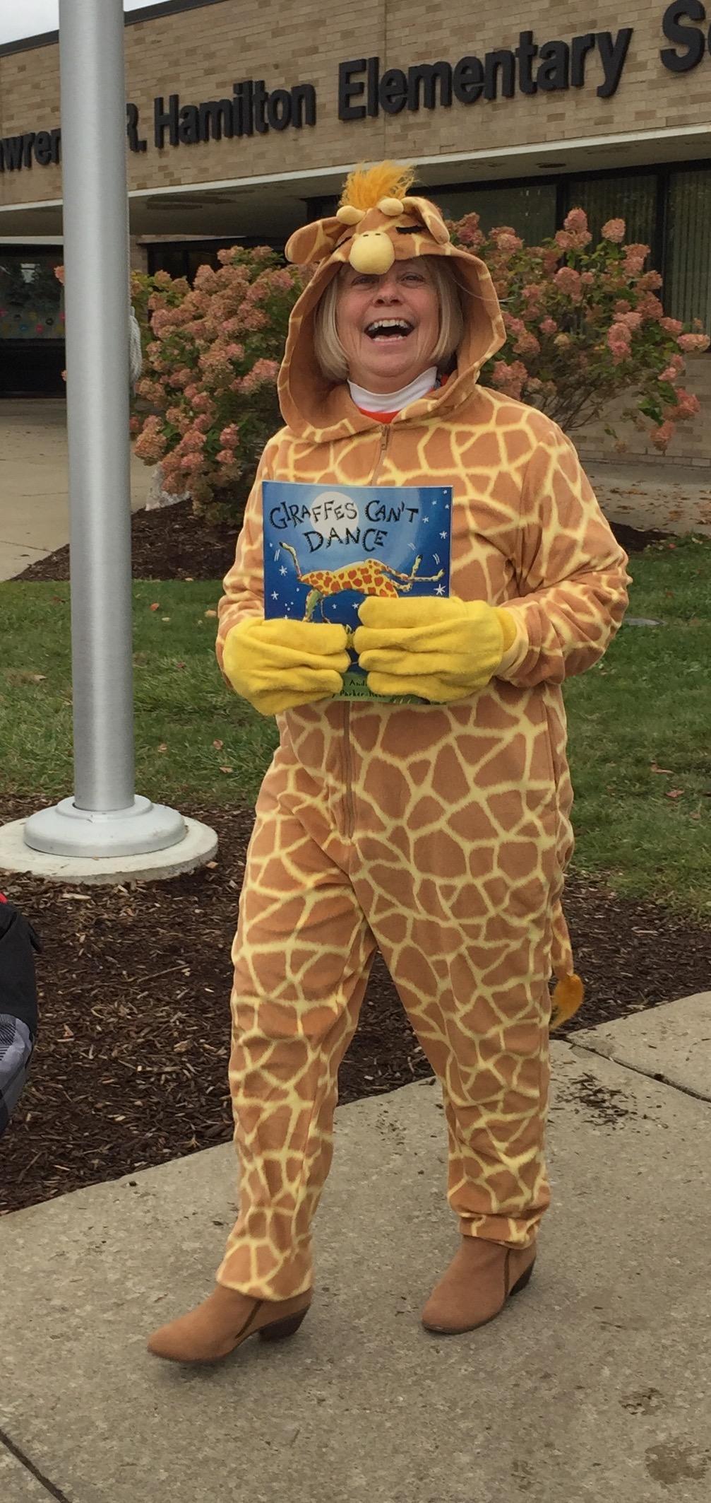 Halloween teacher dressed as a giraffe