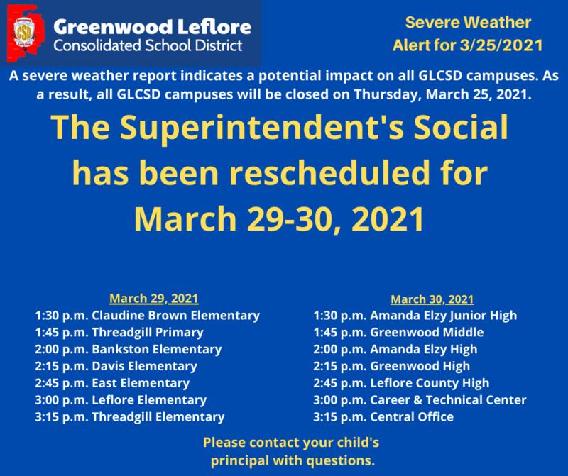 SUPERINTENDENT'S SOCIAL RESCHEDULED Featured Photo