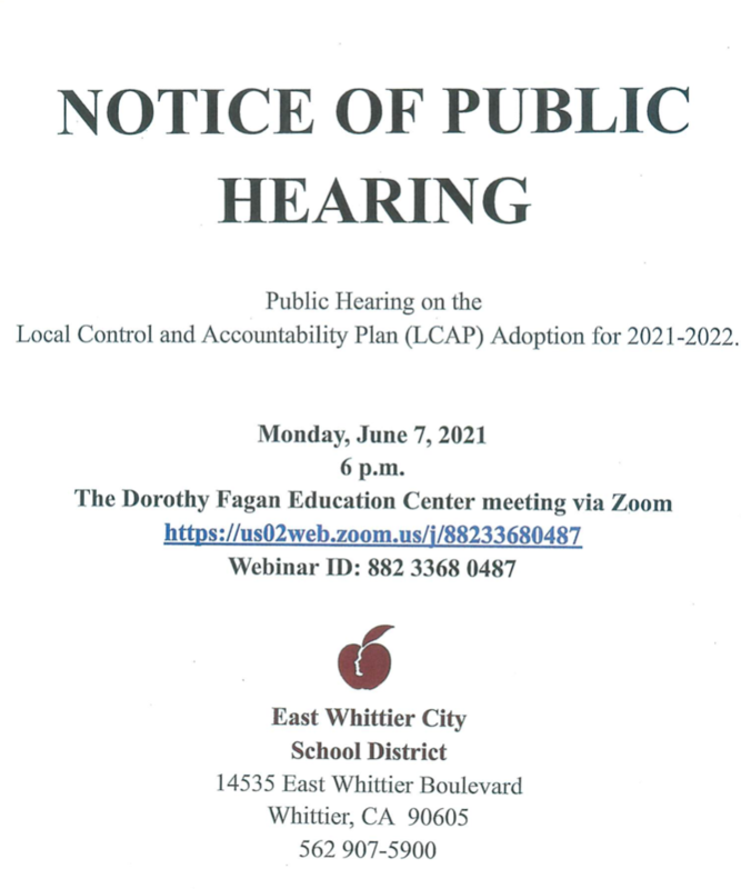 Screenshot of Public Notice flyer for LCAP.