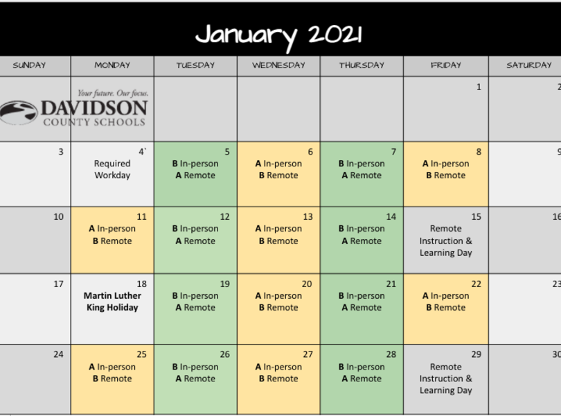 January Remote Learning Schedule