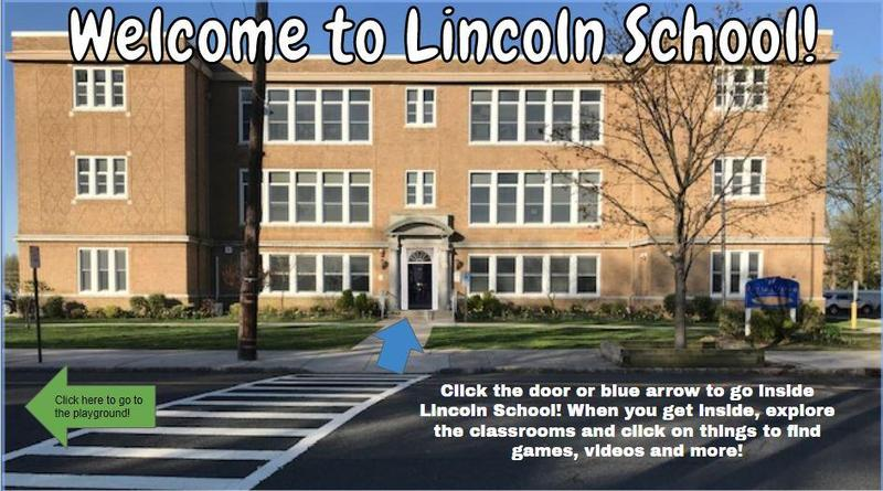 Photo of first slide of presentation showing exterior of Lincoln School.
