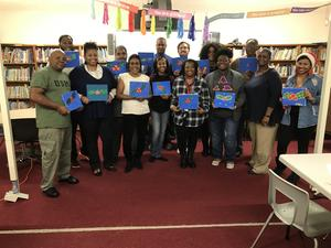 a photo of PRAMS faculty & staff Painting with the Herd art activity