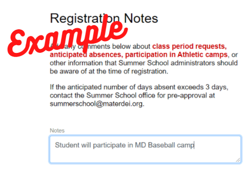 example registration note: student will participate in baseball