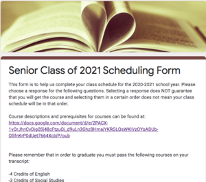 Scheduling Guides for 2020-2021