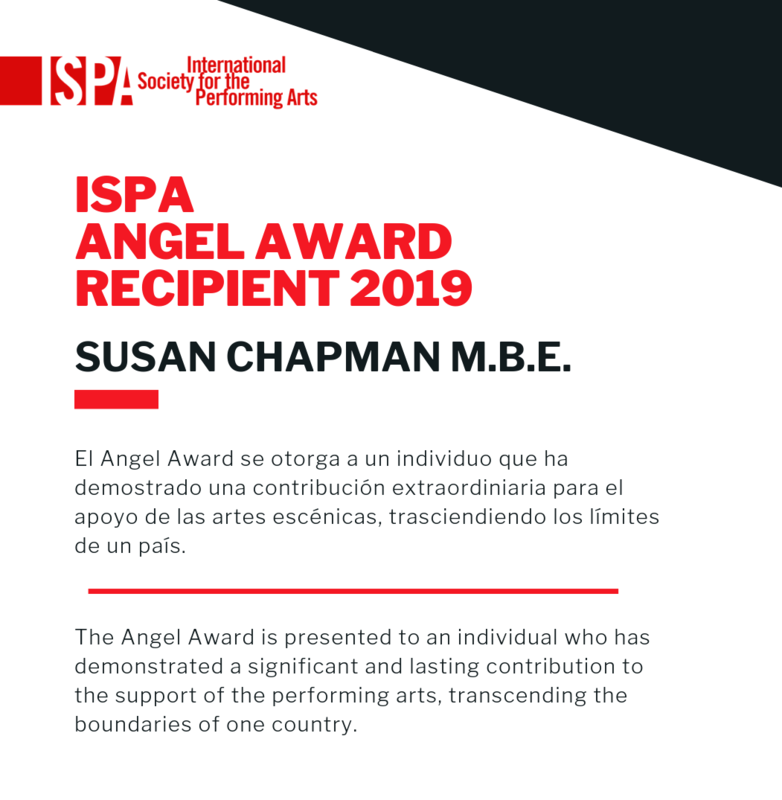 The International Society for the Performing Arts names Susan Chapman, founding director of Anglo Ars (1998 - 2018) as its Angel Award Recipient 2019 Featured Photo