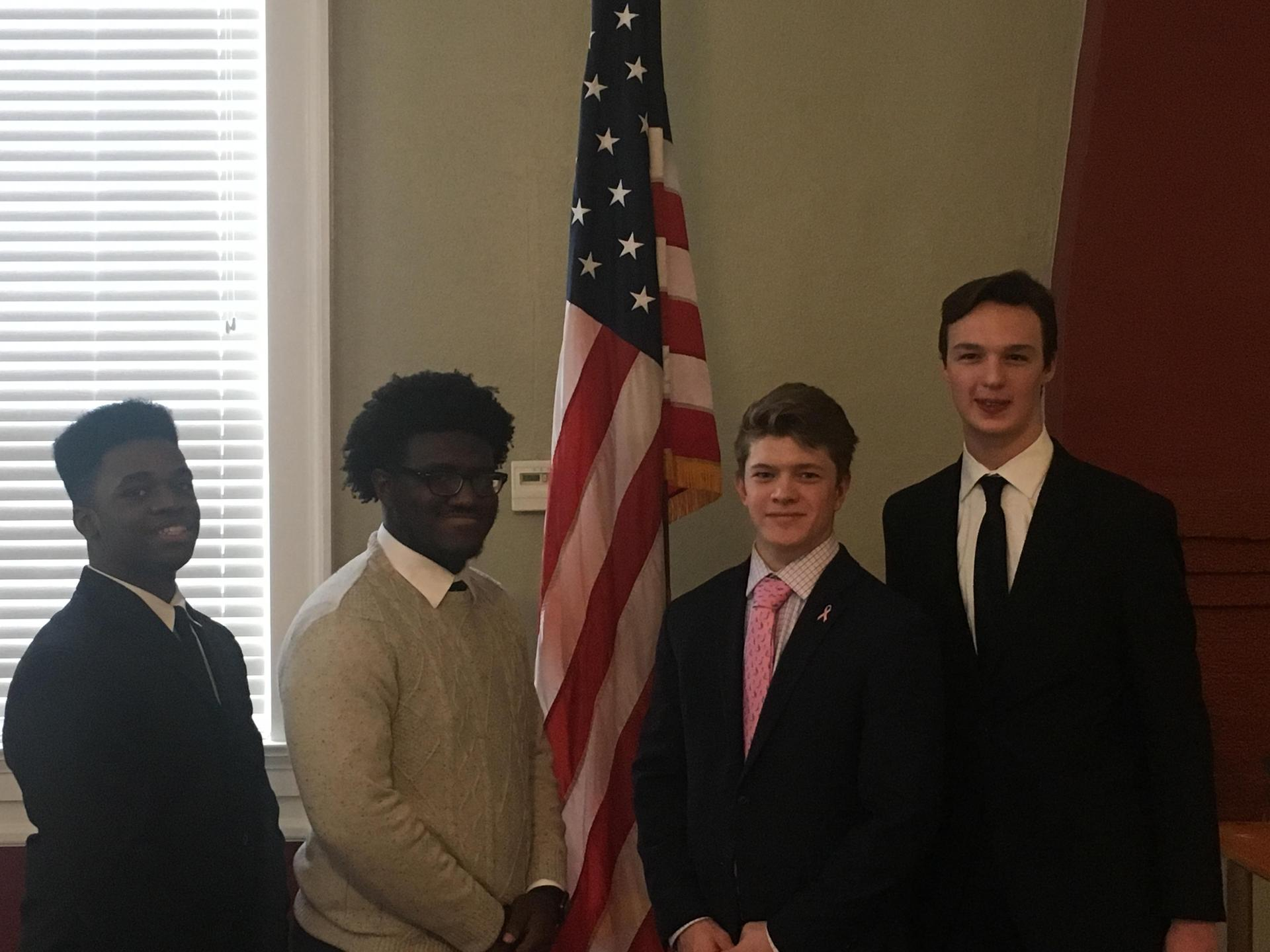 The 2018 American legion Oratorical Contest Winners.  Region Winner - Joshwell Thompson (L)
