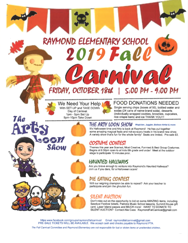 Raymond's Fall Carnival Friday, Oct. 18 5-9 p.m.