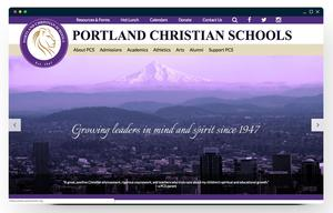 portland christian schools purple and gold themed website
