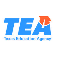 Texas Education Agency logo. TEA  is blue and there is an orange graduation cap on the letter