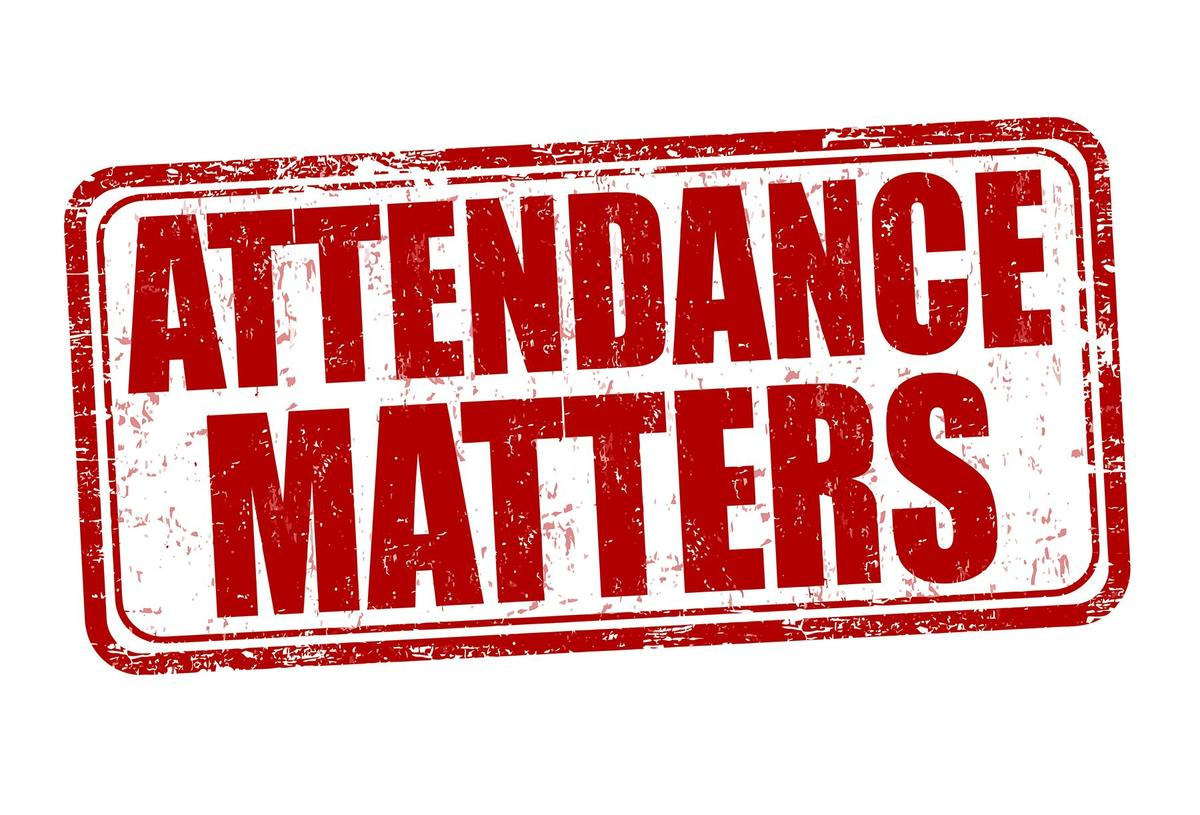 A red paint-spattered graphic with the words 'Attendance Matters'