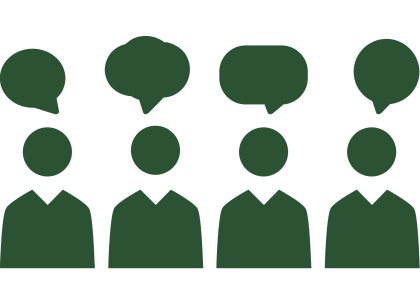 graphic of the outline of 4 individuals with conversation bubbles above their heads