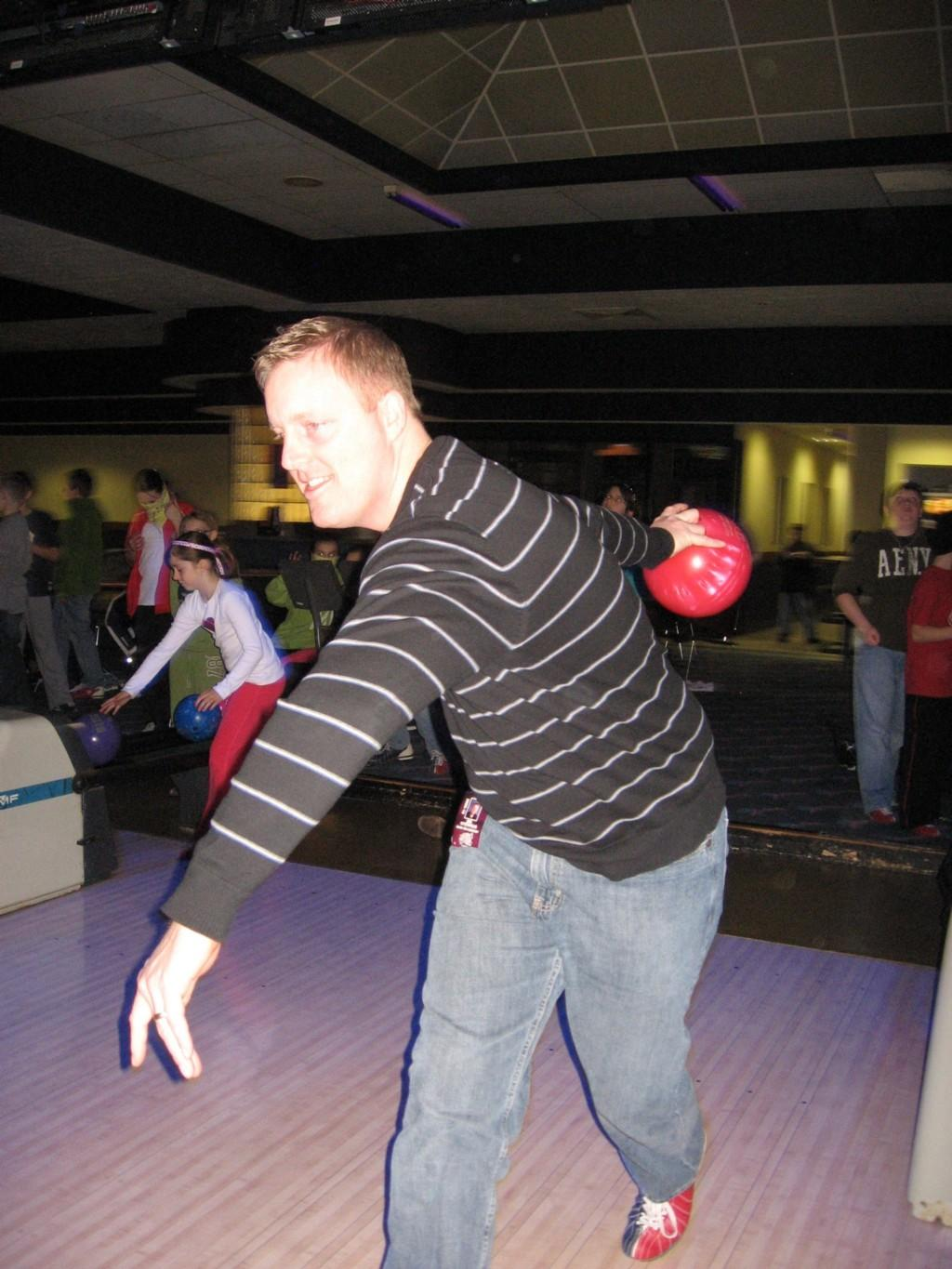 teacher bowling at alley
