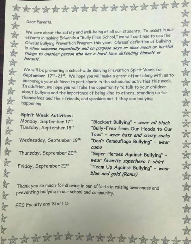 Bullying Prevention Spirit Week Changed to the week of Oct 8-12 Featured Photo