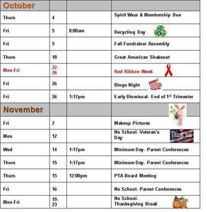 Calendar for Oct