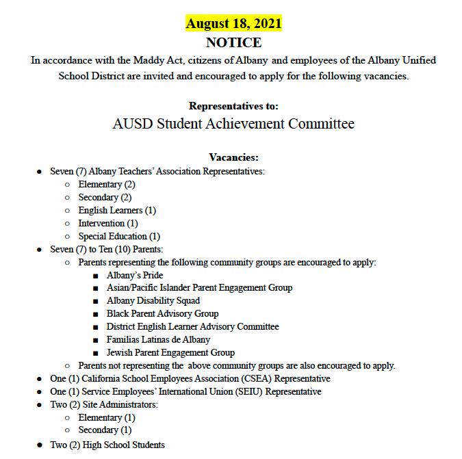 NOTICE AUSD Student Achievement Committee