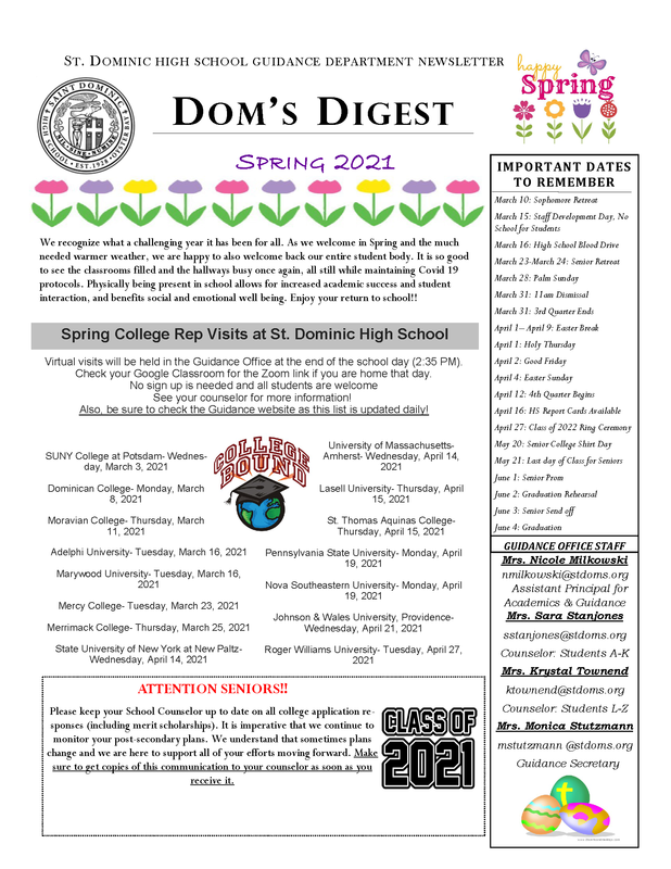 Dom's Digest - Guidance Department Newsletter (Spring 2021 Edition) Featured Photo