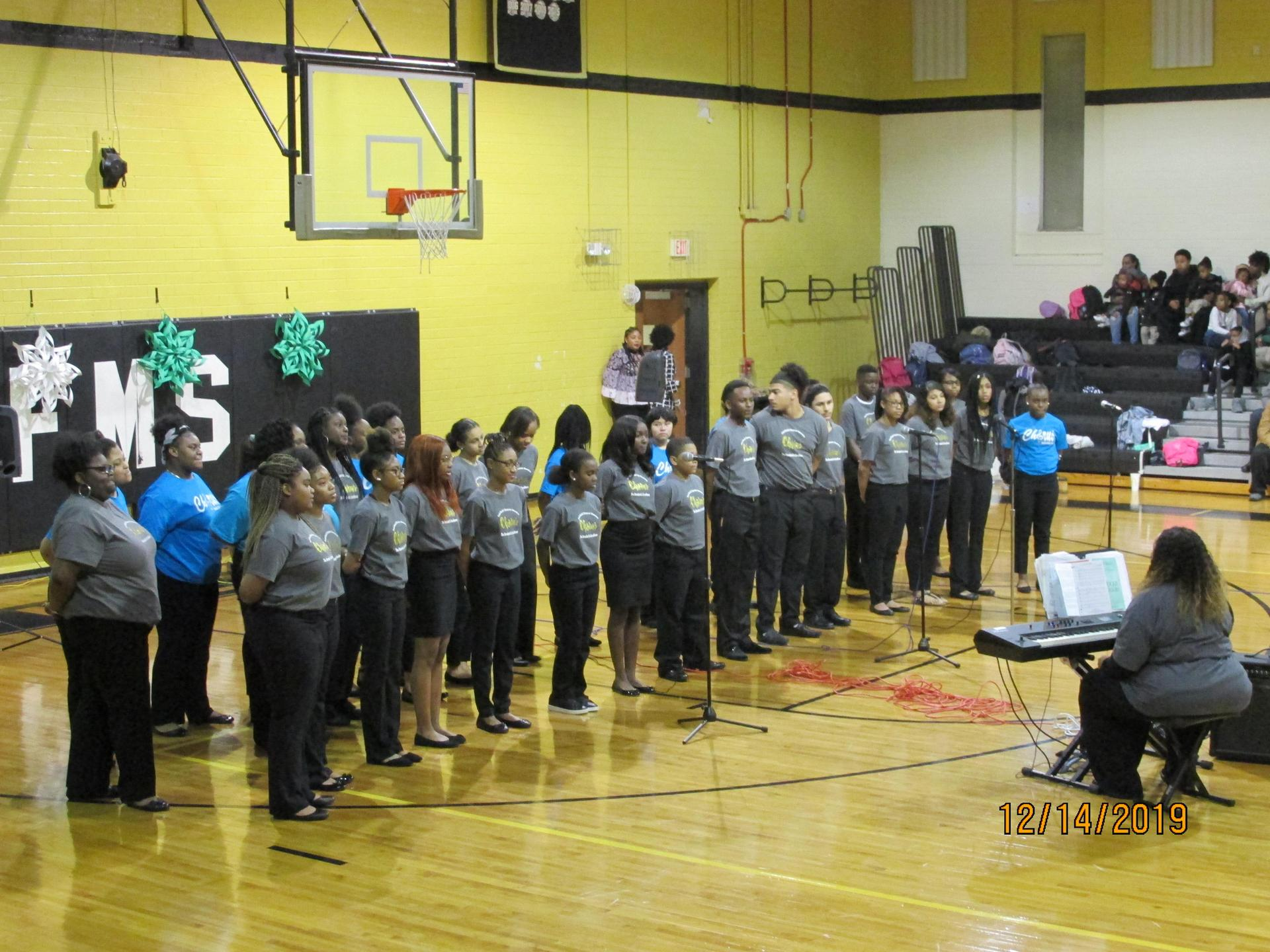 District Honors Chorus and Middle School Chorus Performing