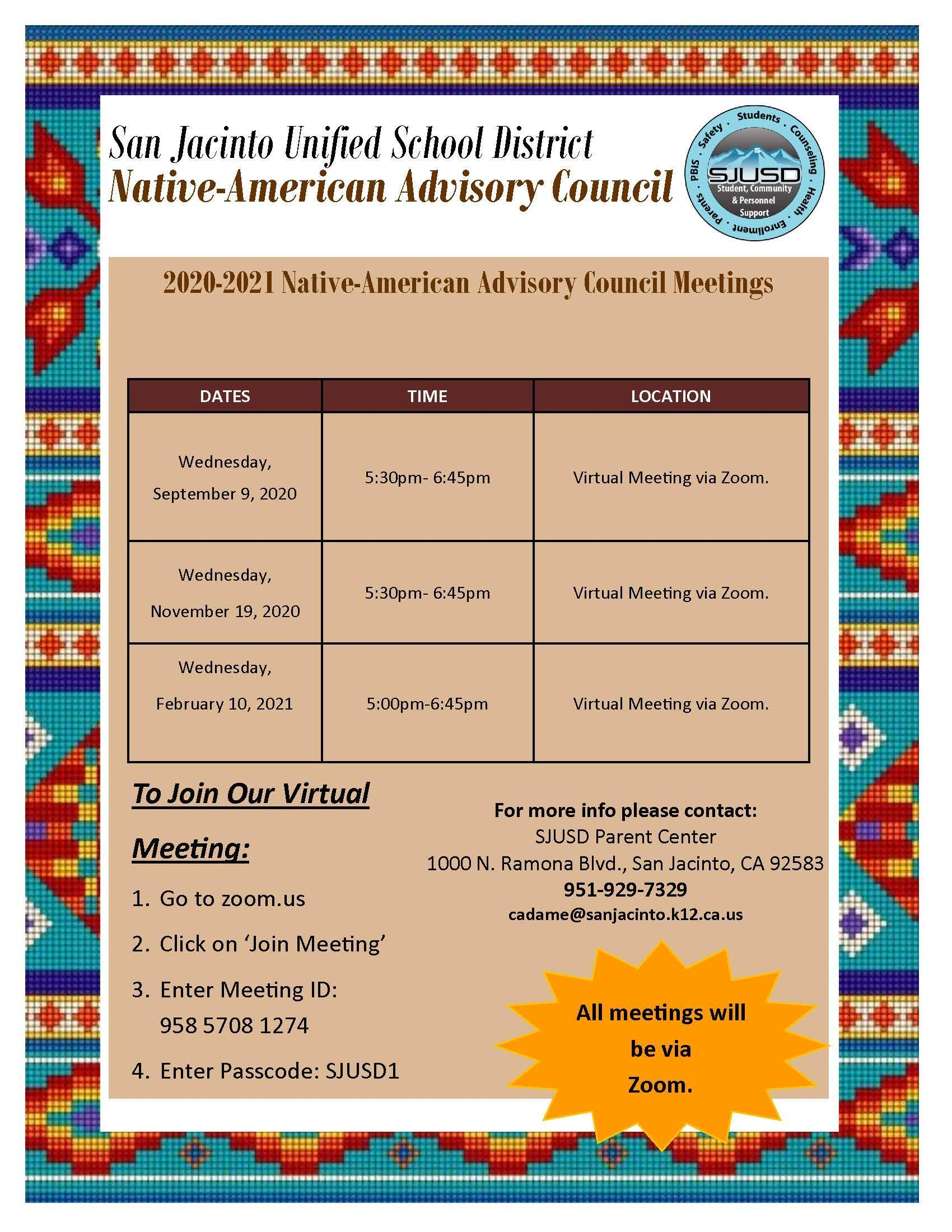 Native American Advisory Council Meeting Dates
