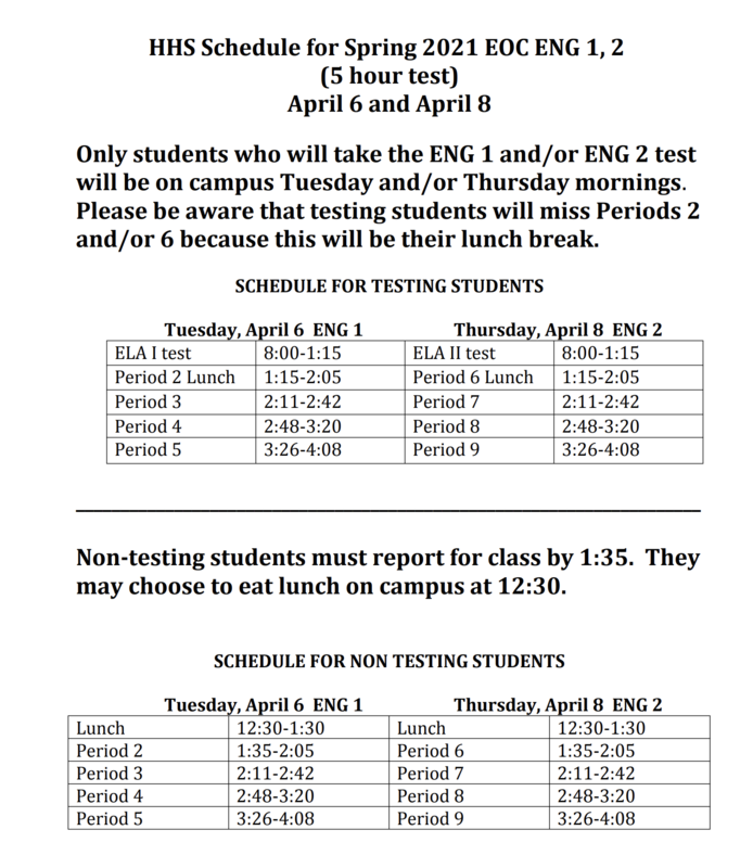 Alternate bell schedule for testing