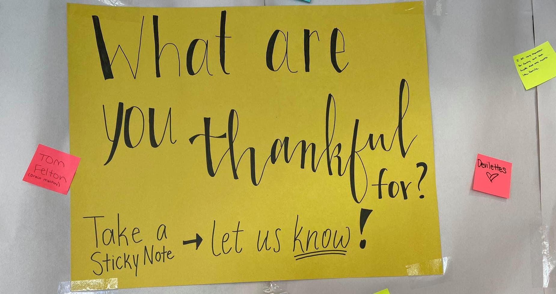 What are you thankful for post-it note sign