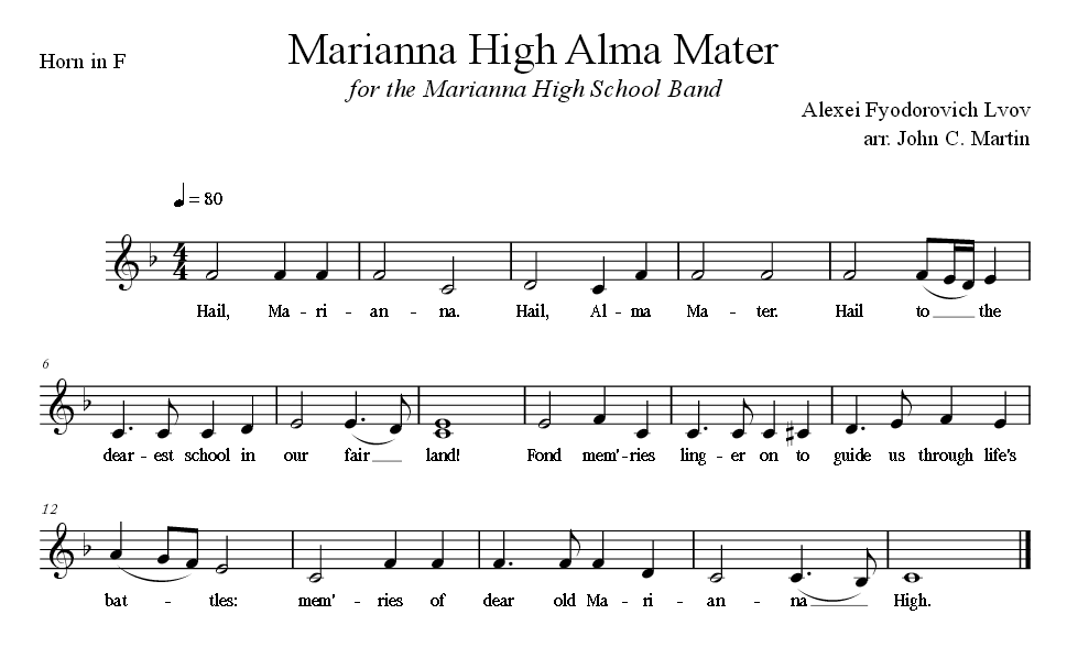 Sheet Music for Alma Mater for the Horn in F