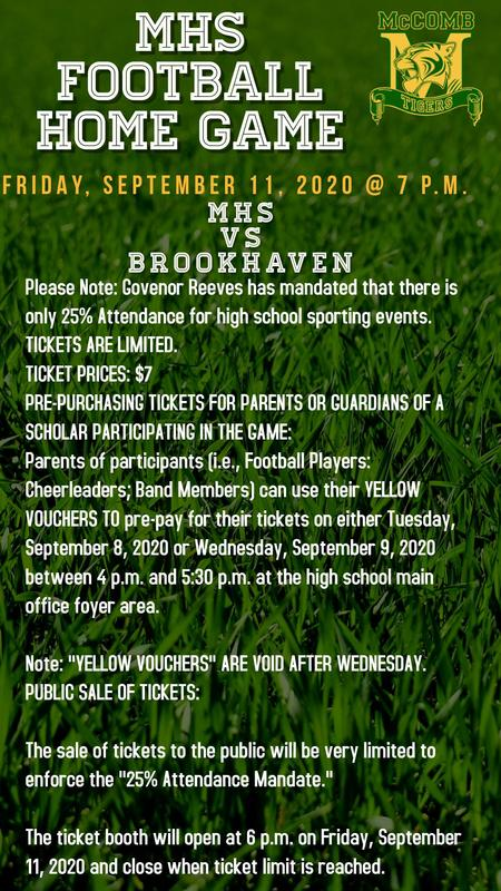 McComb High School Football Ticket News 2020 #ItsComeBackTime