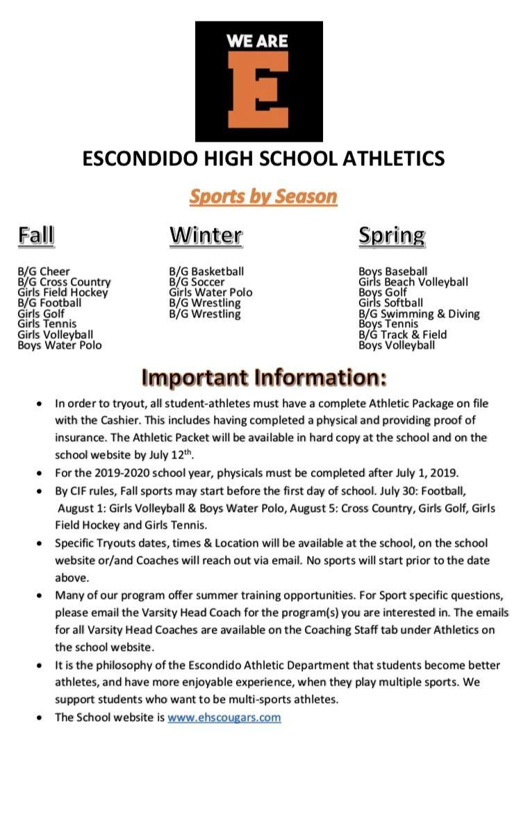 EHS ATHLETICS IMPORTANT INFORMATION