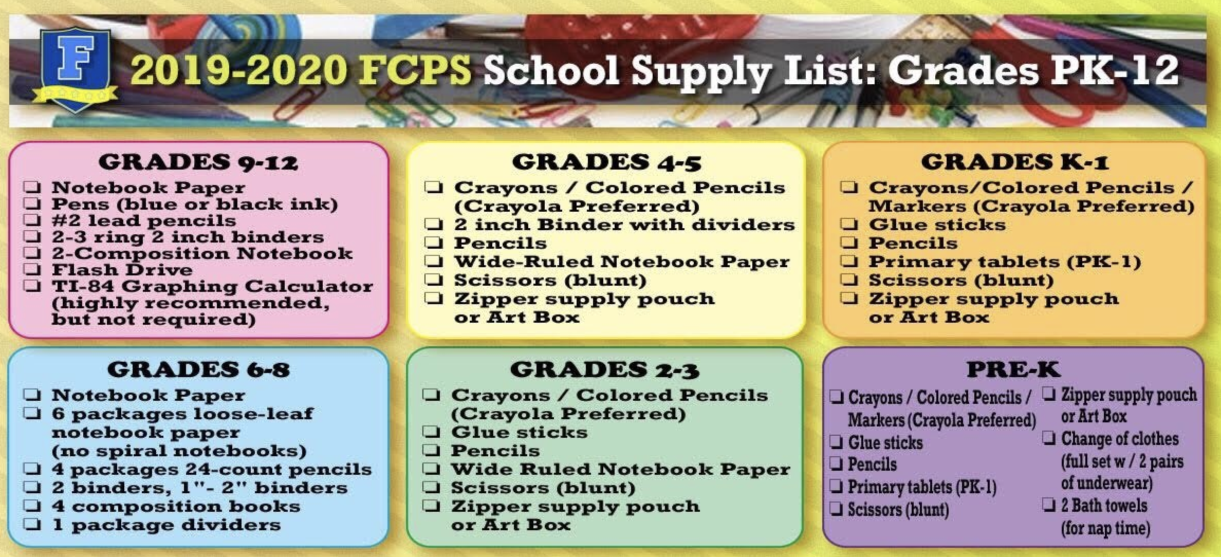 Fcps Calendar 2019.Fcps 2019 20 School Supply List Parent Resources Fayette County