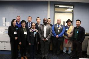 Manor ISD Superintendent Dr. Royce Avery with Chinese Delegation at New Tech High.