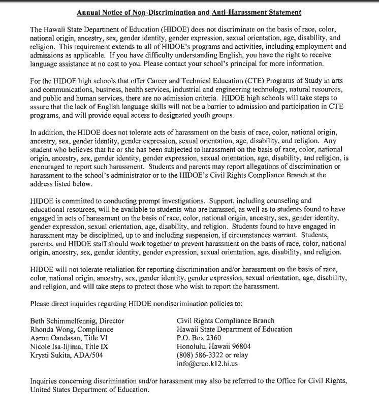 Non-discrimination and Anti-Harassment statement (English)