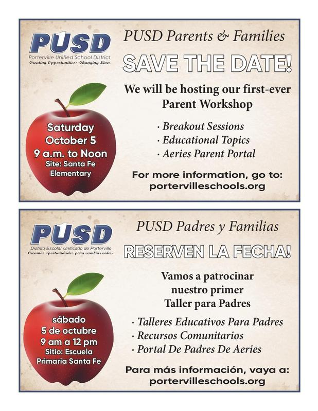 PUSD Parent Workshop Save-the-Date