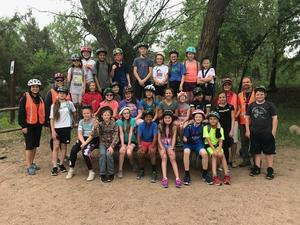 5th grade bike hike on Riverwalk group picture