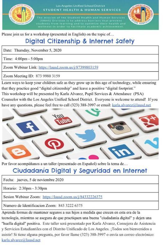 Digital Citizenship & Internet Safety Thursday, November 5, 2020 4:00pm - 5:00pm Featured Photo