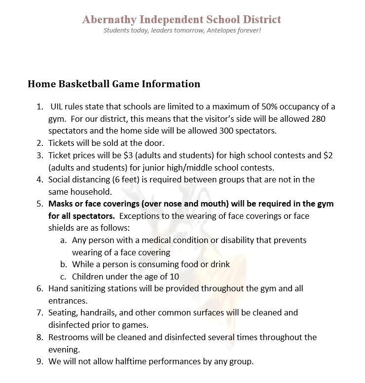 Rules explaining basketball guidelines for COVID